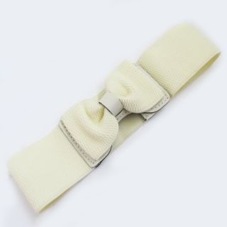 Women Lady Fashion Bowknot Elastic Stretch Waist Belt Wide Stretch