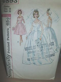 vtg 1960 wedding bridal bridesmaid dress gown scalloped lace sewing