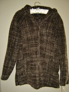 Anne Klein New 200 Brown Tweed Wool Blend Zip Short Jacket Coat L