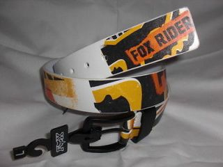 NWT MENS FOX RACING BELT FAUX LEATHER WHITE ORANGE BLACK YELLOW NICE