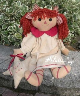 Primitive Prim Fabric Girl Doll Raggedy Ann Angel w Star 20
