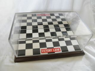 diecast car display case   Mirrored, checkered flag Wood/plastic case