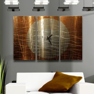 Large Modern Abstract Copper Metal Wall Art Sculpture Clock Warm