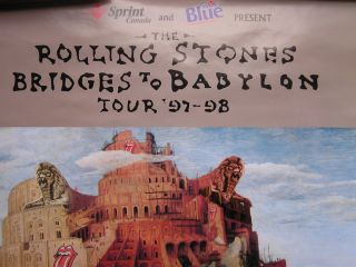 Rolling Stones Bridges to Babylon RARE Tour Poster 1997 U s Tour Keith