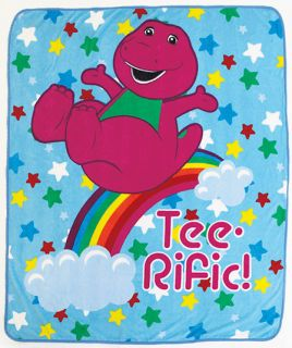 New Barney & Friends Plush Fleece Throw Boys Girls Kids Gift Blanket
