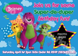 BARNEY DINOSAUR CUSTOM PHOTO BIRTHDAY INVITATIONS (FREE MATCHING THANK