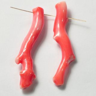 Japanese Momo Salmon Pink Coral Branch Bead Pair
