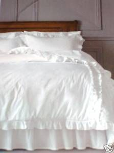 Simply Shabby Chic Full Queen Size White Comforter Set Ruffle Heirloom