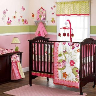 Once Upon A Pond Baby Girl Pink Twins Crib Bedding 6 Piece Set