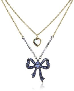 Betsey Johnson Iconic Cupids Arrow Blue Crystal Bow Necklace
