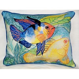 Betsy Drake Interiors Coastal Two Fish Indoor Outdoor Pillow HJ300