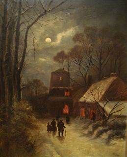 English Moonlit Winter Country Scene Antique Oil Painting Benjamin Day