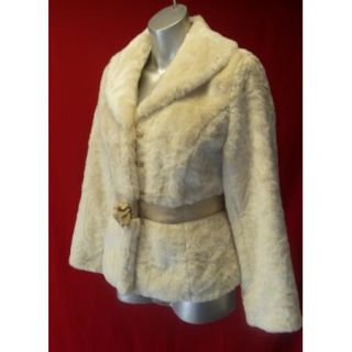 Gorgeous Beth Bowley Anthropologie Thick Soft Cream Faux Fur Coat M
