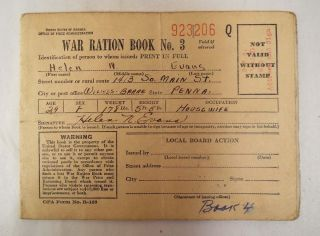 WWII War Dept War Ration Book No 3 1943 with Stamps