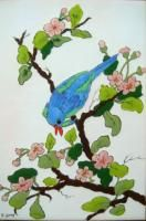 Signed Green & Blue Bird Hand Painted Tile Art Framed Betty Gray TX