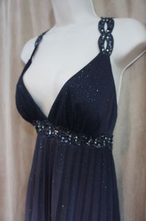 Betsy And Adam Dress Sz 10 Black Silver Glitter Formal Evening