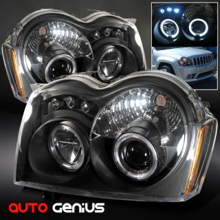 05 07 Grand Cherokee Black Halo Projector Headlights w LED Front Lamps