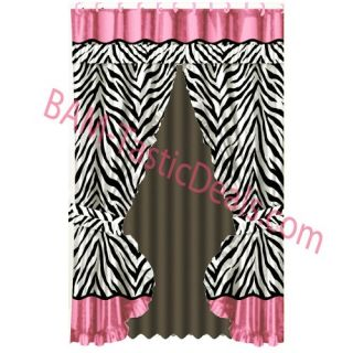 Zebra Black White Pink Printed Fabric Double Swag Shower Curtain with