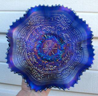NORTHWOOD EMBROIDERED MUMS ELECTRIC BLUE CARNIVAL GLASS BOWL