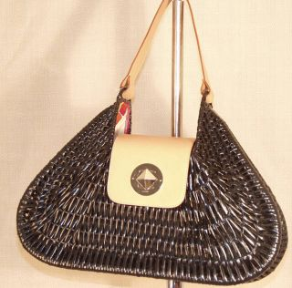 Kate Spade Black Wicker Straw Purse Tan Leather Handle Large Guar Auth