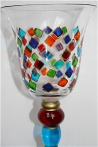 Wine Glasses Goblets Mouth Blown Hand Painted Harlequin Biot