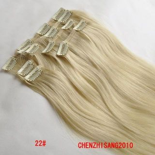 20 Clip in Real Human Hair Extensions 22 Blonde Best