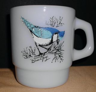 Fire King Blue Jay Milk Glass Mug Anchor Hocking