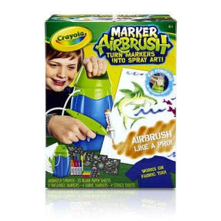AIRBRUSH KIT SET TOY FOR BOYS W MARKERS STENCILS 20 BLANK SHEETS