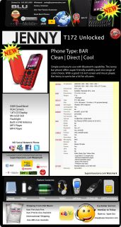 Blu Jenny T172 Dual Sim Quadband Unlocked GSM Red Cell Phone New Model