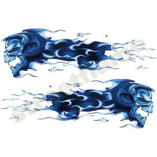 Flaming Blue Skull Set Decals Stickers Motorcycles Car