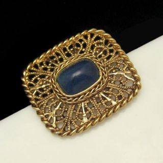 Vintage Filigree Brooch Pin Beautiful Blue Art Glass Stone