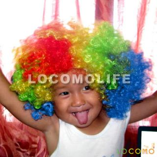 Afro Bob Hair Wig Clown Halloween Party Costume Black