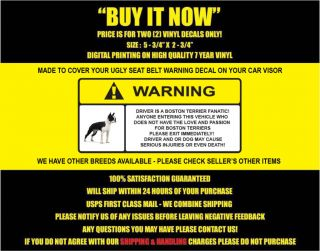 Boston Terrier Dog Decal Dog Sticker Warning Decal Funny Boston
