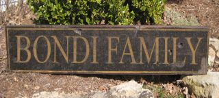 BONDI FAMILY NAME SIGN   Personalized Lastname Painted Wooden Sign