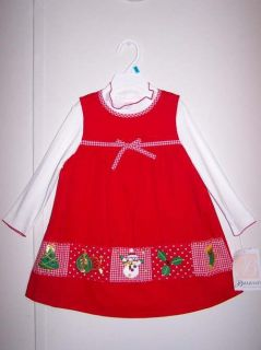 Girls Bonnie Baby Red Holiday Christmas Dress 24M