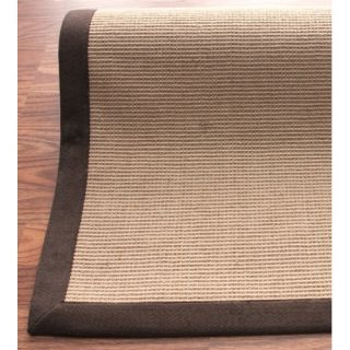 nuLOOM Natural Jute Cotton Brown Border Rug