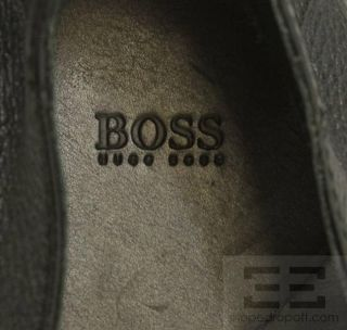 Boss Hugo Boss Mens Black PEBBLED Leather Loafers Size 9
