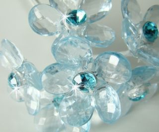 12 Blue Crystal Flower Wedding Bouquet Jewelry Jewels