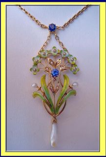 Antique Art Nouveau Necklace Gold Enamel Natural Pearl Sapphire 4198