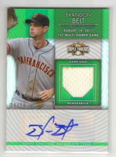 2012 Topps Triple Threads Brandon Belt Jersey Auto 30 50
