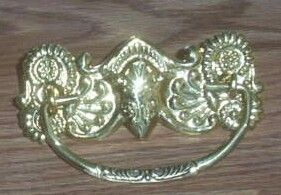 Art Deco Nouveau Stamped Brass Drawer Bail Pull Handle Hardware 3 V