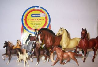 Lot of 10 Miniature Model Horses including Breyer Stablemates