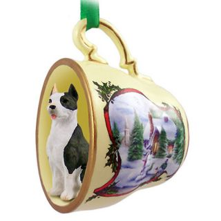 Pit Bull Terrier Dog Christmas Holiday Teacup Ornament Figurine