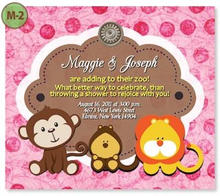 Tiger Giraffe Lion Monkey Zebra Baby Shower Invitations Unique