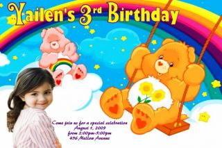 Care Bears Custom Birthday Photo Invitation