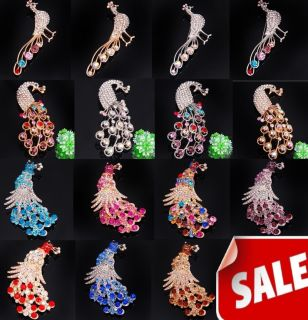 wholesale 30pcs peacock CZ crystal rhinestone brooch pins jewelry