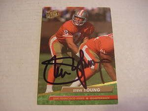 STEVE YOUNG AUTOGRAPHED FOOTBALL TRADING CARD