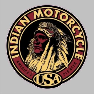 Indian Motorcycle Vintage Round Bumper Sticker Car Window Decal