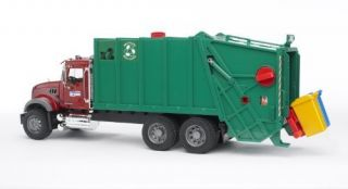 Bruder Toys Mack Granite Garbage Truck Ruby Red Green Realistic