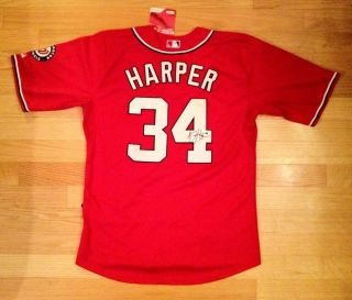 Bryce Harper Nationals Signed Autographed Red Baseball Jersey COA